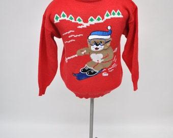 vintage sweater HOLIDAY CHRISTMAS ski bear acrylic medium