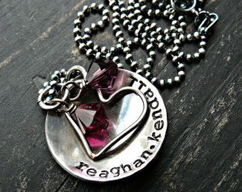Cupped Heart and Stones Hand Stamped Jewelry