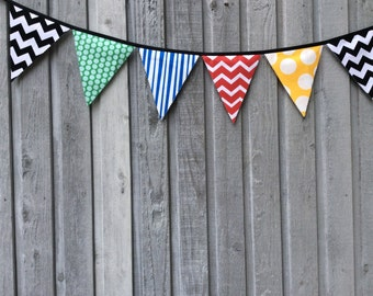 Superhero Fabric Bunting Flags, Birthday Banner, Fabric Party Banner, Pennant Flags modern primary colors