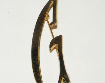 Vintage Capital Letter G Pin Gold Toned