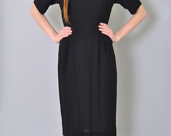Vintage Sheath Dress 60s LBD Shirt Waist Black Dress  Minimalist MOD L Large