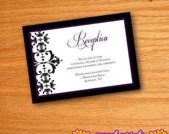 Printed Purple & Black Damask Flourish Wedding Invitation Reception Cards