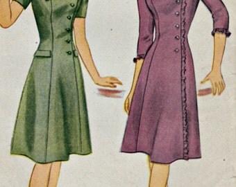 1940s Side Closing Princess Dress Pattern  SIMPLICITY 1164  1944 Teen Dress Pattern  Vintage Sewing Patterns  Unprinted Pattern  Bust 34