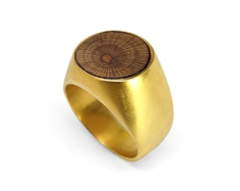 Gold Round Wood Ring