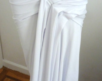 White versitile drape long skirt or dress