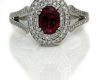 Ruby Engagement Ring Vintage Ruby Ring with Round Cut Diamonds Platinum Michael Beaudry Ring No Heat Ruby and Diamond Ring!