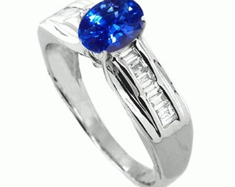 blue sapphire  diamond ring  18k white gold