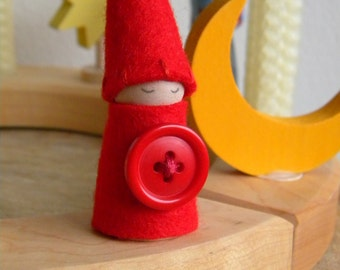 Cute as a Button Gnome, Birthday Ring Decoration, Small Gnome Peg Doll, red, vintage button, Waldorf decor, Boy or Girl Birthday