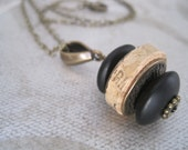 Cork Necklace Accented with Antique Bronze and Black- Recycled Wine Cork