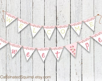 Welcome Sweet Pea Pennant Banner, Thank You for Celebrating the Mother to Be and Her Little Sweet Pea, Baby Showers, Sweet Pea, Pink, Green