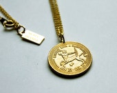 Sagittarius  -  Necklace - Constellation - Zodiac - Charm - Necklace - Vintage - Coin - Humor - Astrology - Jewelry -  Mature