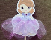 Sofia the First Inspired Centerpiece Flag Cake Topper: Custom and Made to Order. Princess Party. Sophia. Purple. Glitter. Tulle. Rhinestones