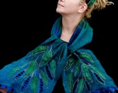 Nuno-felted scarf - extra-fine merino wool and handwoven silk gauze - feather-lite and soft - Winter Leaves