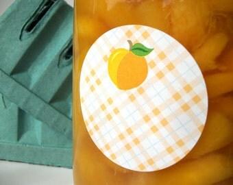Plaid Peach Apricot canning jar labels, round mason jar labels for fruit preservation, jam jelly & preserves jar labels, cottage chic
