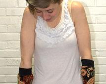 Long Fingerless Gloves - Long arm warmers-Stretchy Gloves-Paisley Fingerless Gloves-Hipster Gloves- Rave Gloves-Texting Gloves