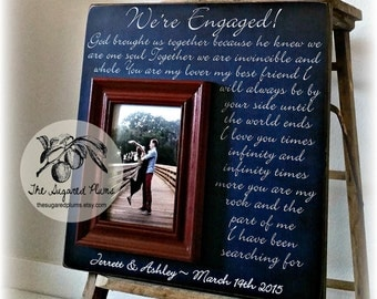 Engagement Gift Personalized Picture Frame WE'RE ENGAGED Engagement Present Navy Blue Wedding 16x16 The Sugared Plums