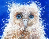 OWL art, nursery painting, Owl decor, animal painting, nursery wall art, kids room art, bird painting, blue nursery, Etsy art, Jan Matson