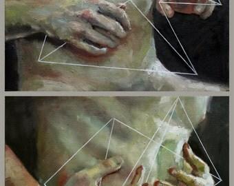 Entfalten II, Original Oil Painting Diptych