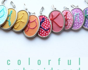 Personalized Jewelry. Initial Necklace. Letter Necklace. Hand Embroidery. Embroidered Pendant. Embroidery Monogram. Gifts for Women.