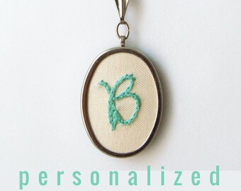 Personalized Necklace Bridesmaid Gifts Initial Necklace Hand Embroidery Pendant Stitched Letter Colorful Wedding Embroidery Initial