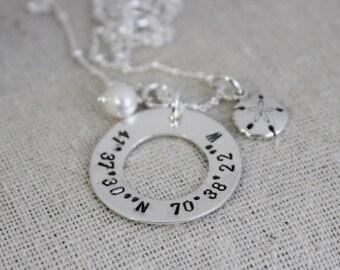 coordinates necklace | latitude longitude | gps coordinates | location gift | going away gift | graduation present | vacation necklace