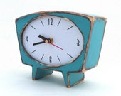 FREE SHIPPING - Table clock, Desk Clock, turquoise / brown clock, Unique Gift, Wooden clock, Handmade clock, Gift ideas, Mantle clock