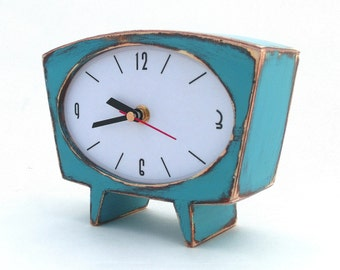 Desk Clock Turquoise Wood Table clock, Unique Wooden clock, Cute Handmade Clock, Mantle clock, Summer home decor, gift for Her and Him