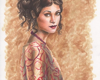The Companion - Print - Firefly Inara Serra Morena Baccarin Copic Marker Portrait Drawing
