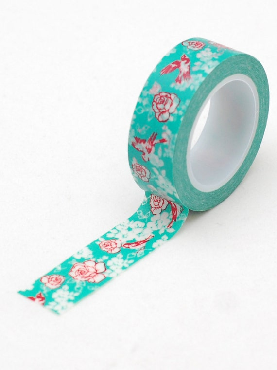 Japanese washi tape- Turquoise bird and floral- masking tape -Love My Tapes