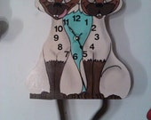 Siamese Cats pendulum wall clock with dual swinging tail