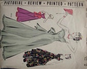 1940s Strapless Evening Gown Ball Gown Boned Bodice Optional Straps Pictorial Review 9523 Bust 36 Complete Women's Vintage Sewing Pattern