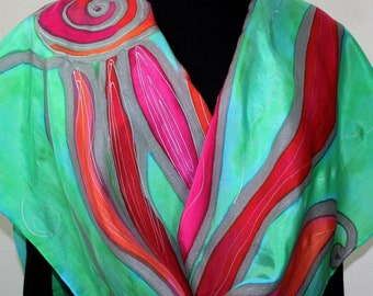 Green Silk Scarf. Pink Hand Painted Scarf. Handmade Silk Shawl PASSION WAVES. Luxurious Big 22x90. Anniversary, Mother Gift. Gift-Wrapped