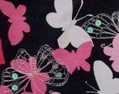 "3 Yards 14 "" Black Background Fabric Covered with Butterflies, Machine Embroidery and Iridescent Sequins"