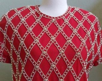 "Vintage 80's Carmen Marc Valvo 100% Wool Red Dress Patterned Gold Beads Bust 40"" Waist 40"""