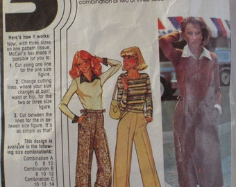 70's Women's Separates Pattern - Top with Detachable Dickey and Cuffs, Skirt and Pants - McCall's 5731 - Sizes 10-12-14, Bust 32 1/2 - 36