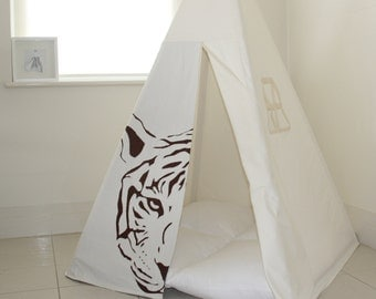 Play Tent - Tiger Hides Teepee in brown