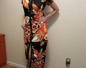 Maxi Dress Cheongsam Asian black orange floral by Sinclair M
