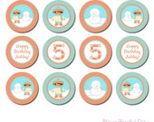 PRINTABLE Personalized Winter Birthday Boy Party Circles