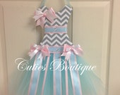 Tutu Dress Hair Bow Holder Gray Chevron with Aqua Blue and Pink Perfect Gift For Christmas Birthday Baby Shower It's a Girl