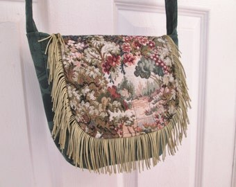 Boho Gypsy Shabby Chic Fringe Cross Body Messenger Bag