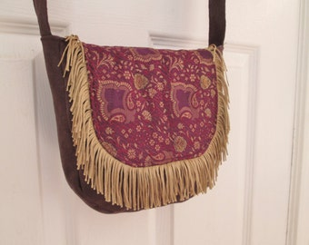 Purple Boho Gypsy Brocade Fringe Cross Body Messenger Bag