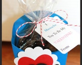 Mustache Valentine - Fry Box - Class Valentine Favors - Boy Valentines - Valentine Party - Valentine's Day - Treat Favors - Candy