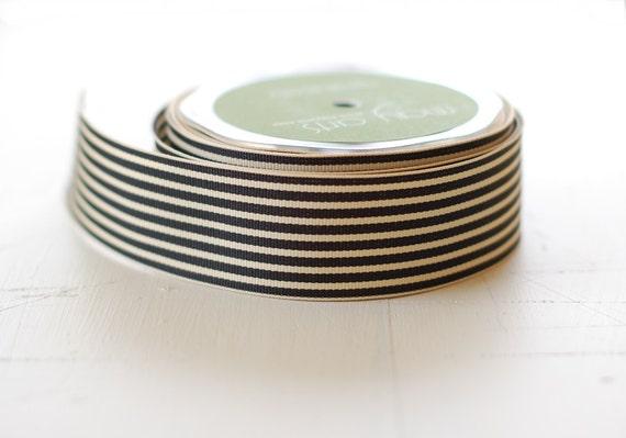 "BLACK + IVORY - 30 Yards of Ribbon - 1.5"" Wide Striped Grosgrain - Full Spool"