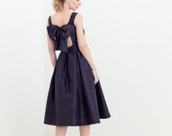Black silk taffeta cutout midi dress with pleated skirt // black bridesmaid dresses // Dorit Dress