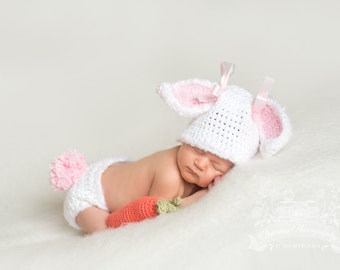 Newborn bunny hat and diaper cover baby bunny hat newborn photo easter hat crochet bunny hat carrot photography prop white bunny hat rabbit