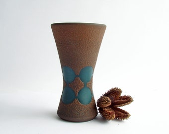 Mid Century Brown Vase with Green Circles, Lava Texture