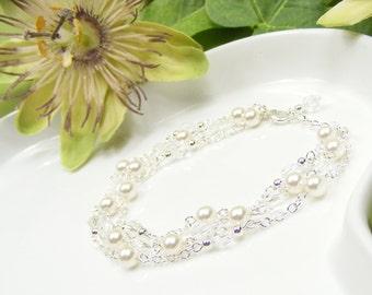Bridal bracelet, wedding braclet, crystal and pearl bracelet, pearl wedding jewellery, bridesmaid jewelry set, everyday bracelet. GEORGIA