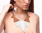 AMALIA leather necklace (Turquoise-brown + handpainted in pink)