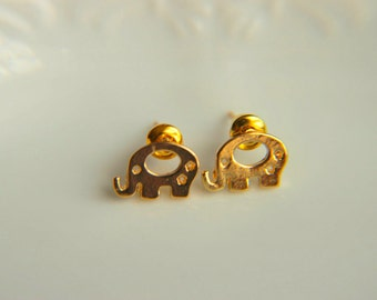 Minimalist Elephant Stud Earrings: Elephant shaped stud earrings for everyday use,tiny stud earrings rhodium plated earrings pink gold stud