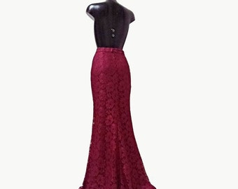 Floor length bridal skirt Burgundy lace high waist, slightly Mermaid silhouette high quality tailor made, High fashion , many colors